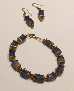 Sodalite and gold bracelet and earrings