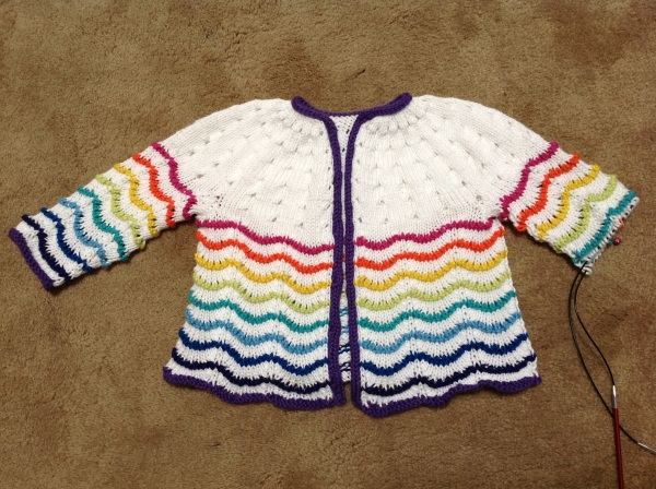 Scalloped Lace Toddler Cardigan, nearly done